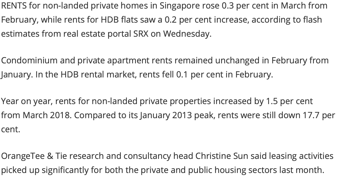 News - Singapore Condo & HDB Rents Rise In March